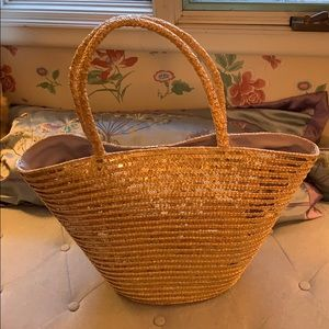 Large Talbots Straw and Gold Sequin Bag